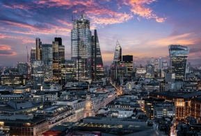 Image of the City of London after sunset