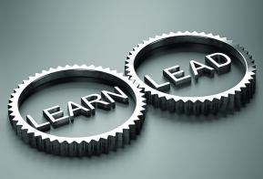 Image of two cogs containing the words Learn and Lead