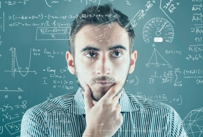 Man thinking about equations