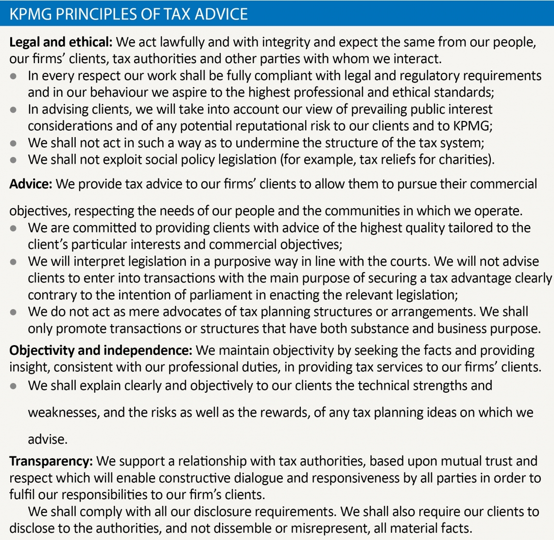 KPMG Principles of Tax Advice