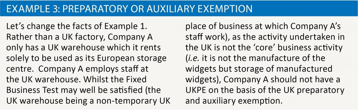 Example 3: Preparatory or auxiliary exemption