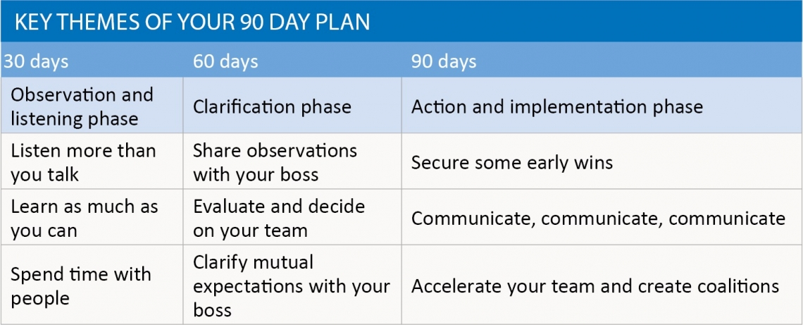 Key themes of your 90 day plan