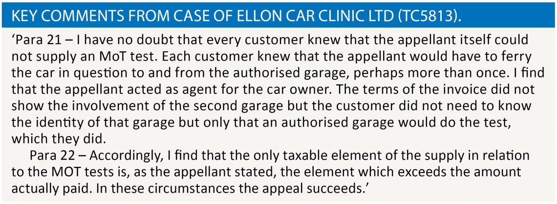 Warren - Key comments from case of Ellon Car Clinic Ltd