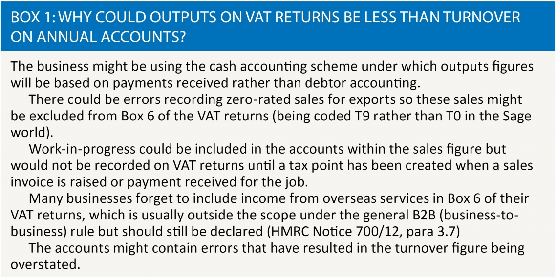 Box 1: Why could outputs on VAT returns be less than turnover on annual accounts?