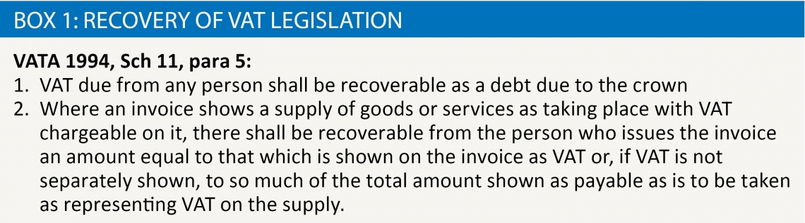 Box 1: Recovery of VAT legislation