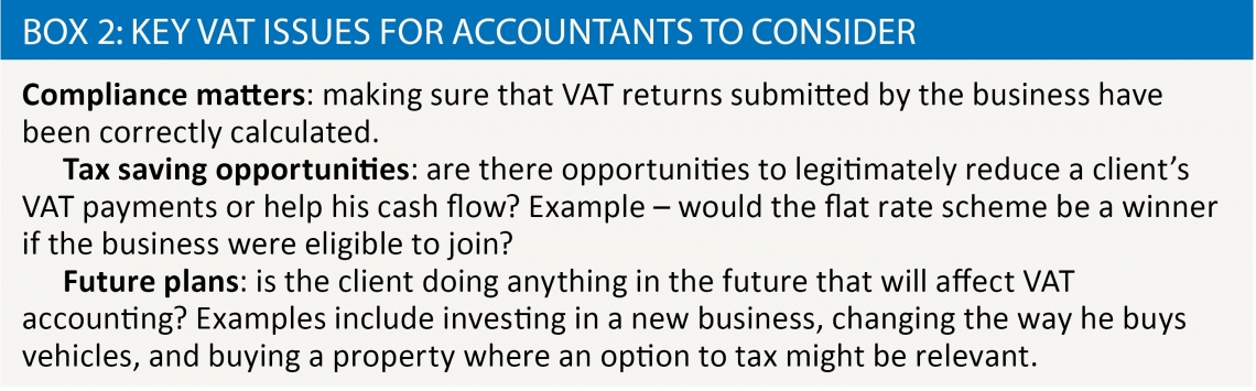 Box 2: Key VAT issues for accountants to consider