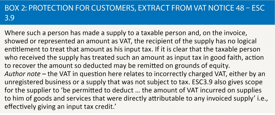 Box 2: Protection for customers, extarct from VAT Notice 48 – ESC 3.9