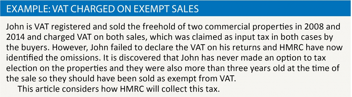 Example: VAT charged on exempt sales