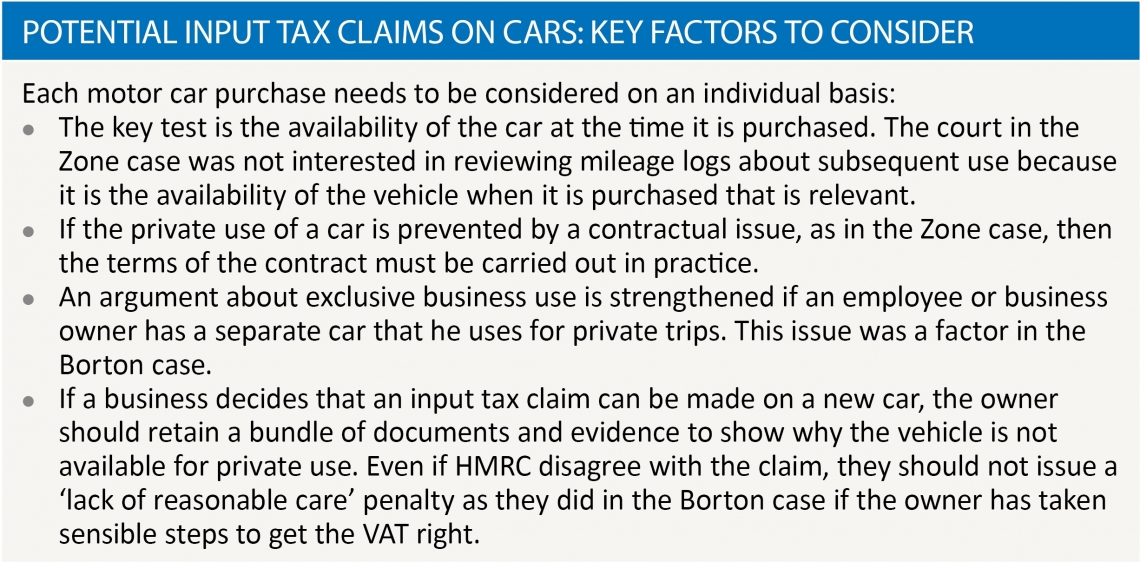 potential input tax claims on cars