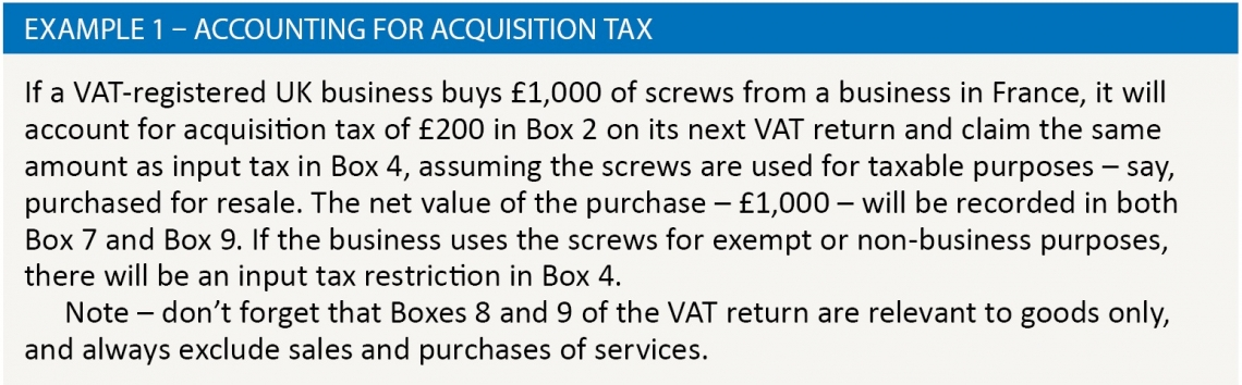 Example 1 – Accounting for acquisition tax