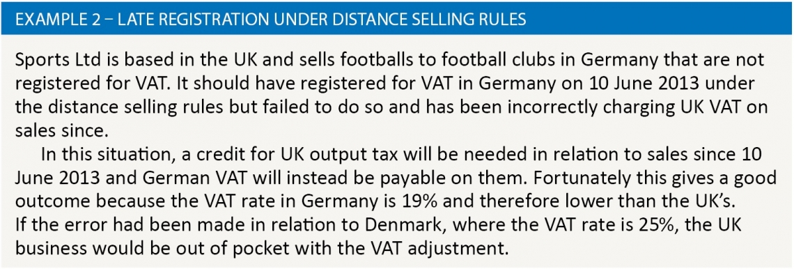 Example 2 – Late registration under distance selling rules