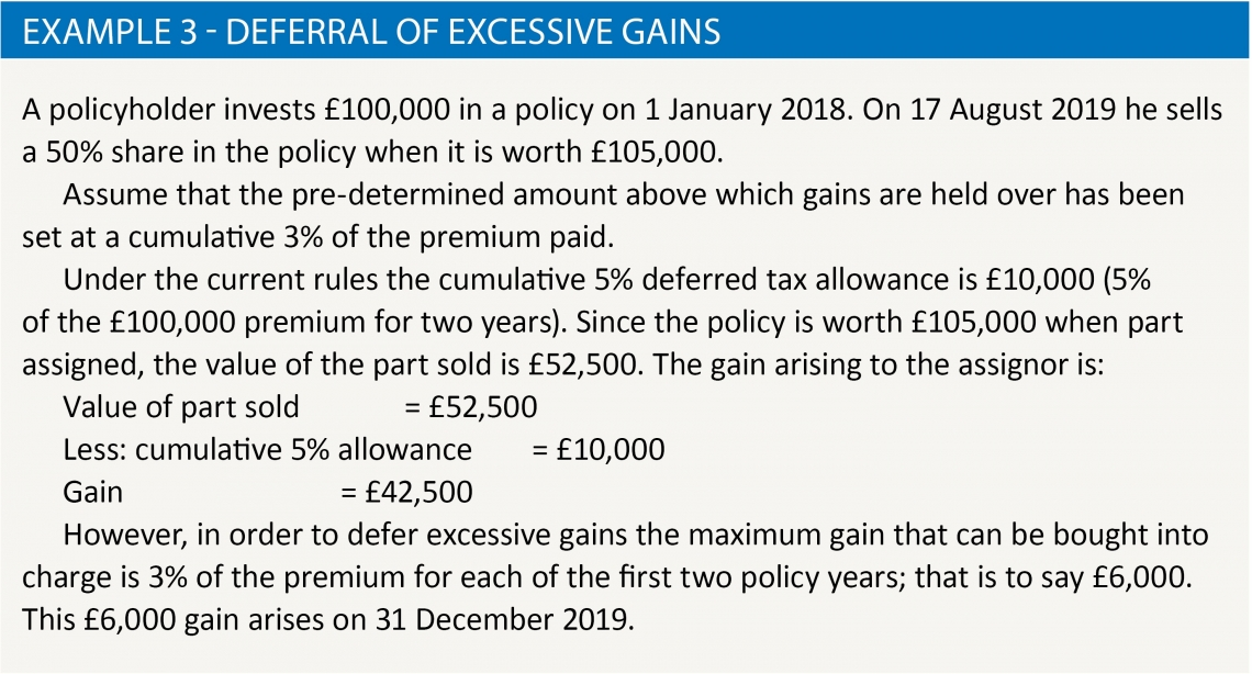 Example 3 - deferral of excessive gains