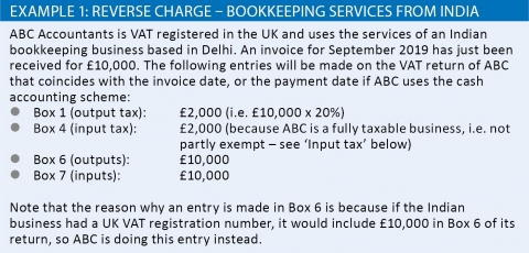 Reverse charge - bookkeeping services from India